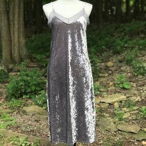 Crushed Velvet Strappy Slip Dress